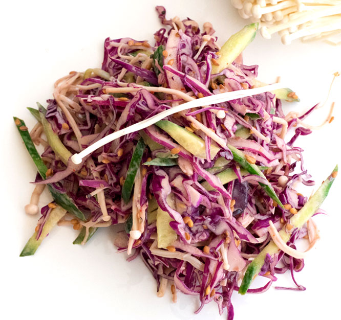 Coleslaw Recipe – Coleslaw with Fresh Enoki Mushrooms
