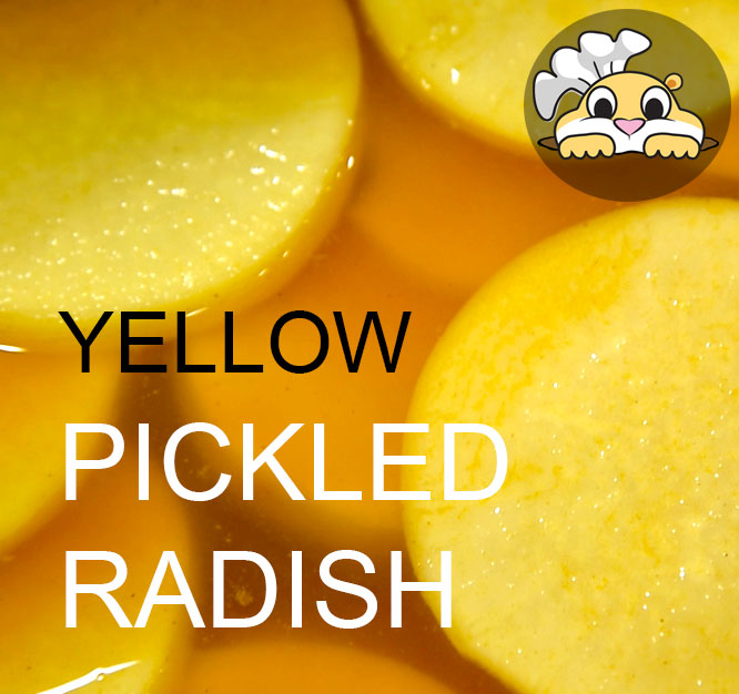 Instant yellow pickled radish with turmeric
